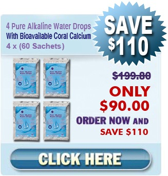 Order 4 Packages - 4 x 60 Sachets Of Our Natural Home Cures Pure Alkaline Water Drops with Bioavailable Coral Calcium For $90